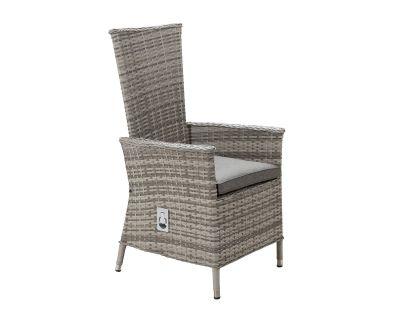 Cambridge Reclining Rattan Garden Chair in Grey
