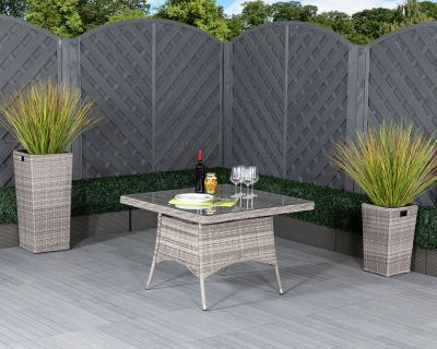 Square Rattan Garden Dining Table in Grey