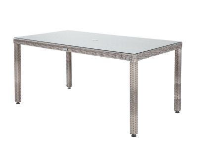 Open Leg Rectangular Rattan Garden Table in Grey