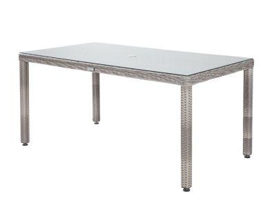 Open Leg Rectangular Rattan Garden Table in Grey