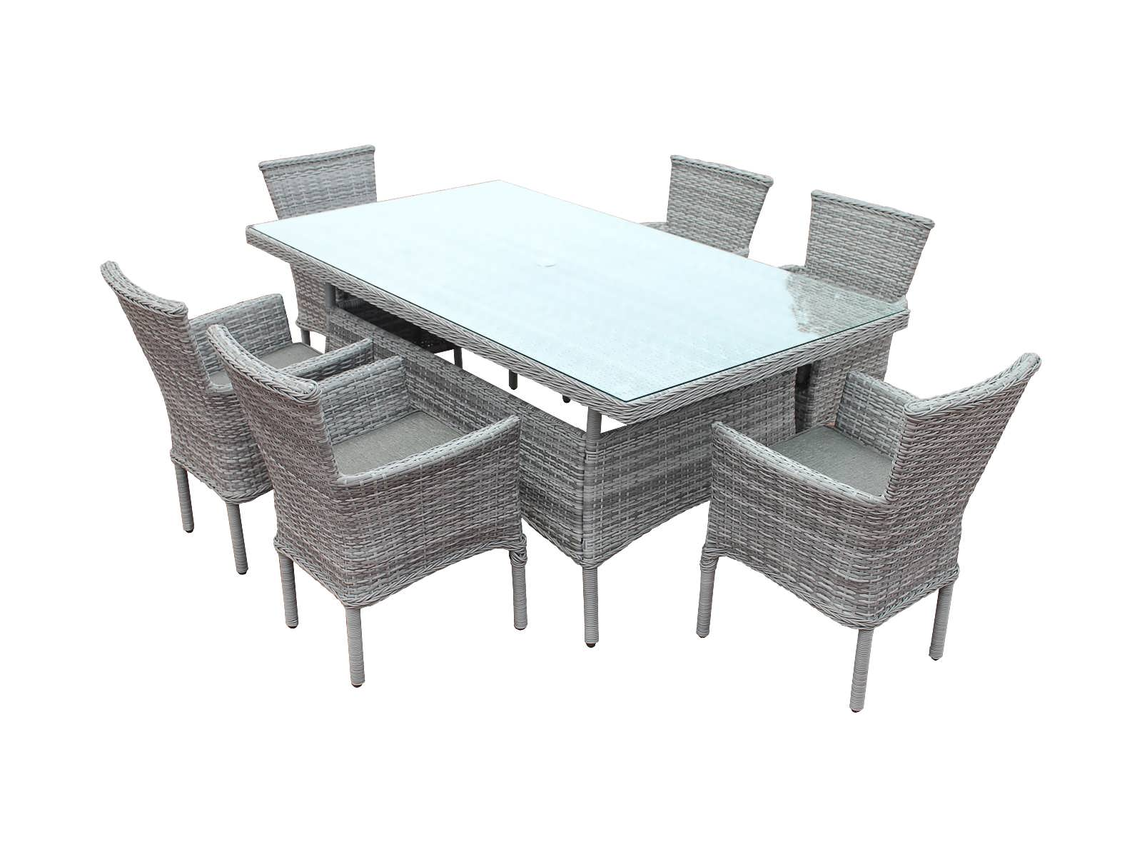 Cambridge 6 Rattan Chairs and Rectangular Table Set in Grey