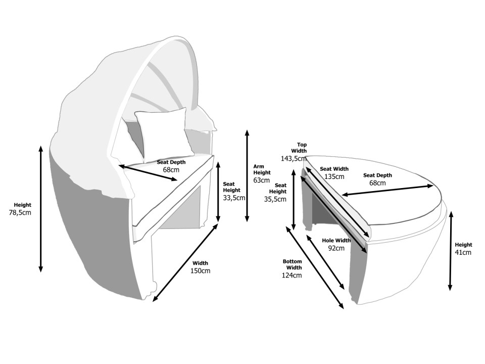 Dimensions of Venice Daybed