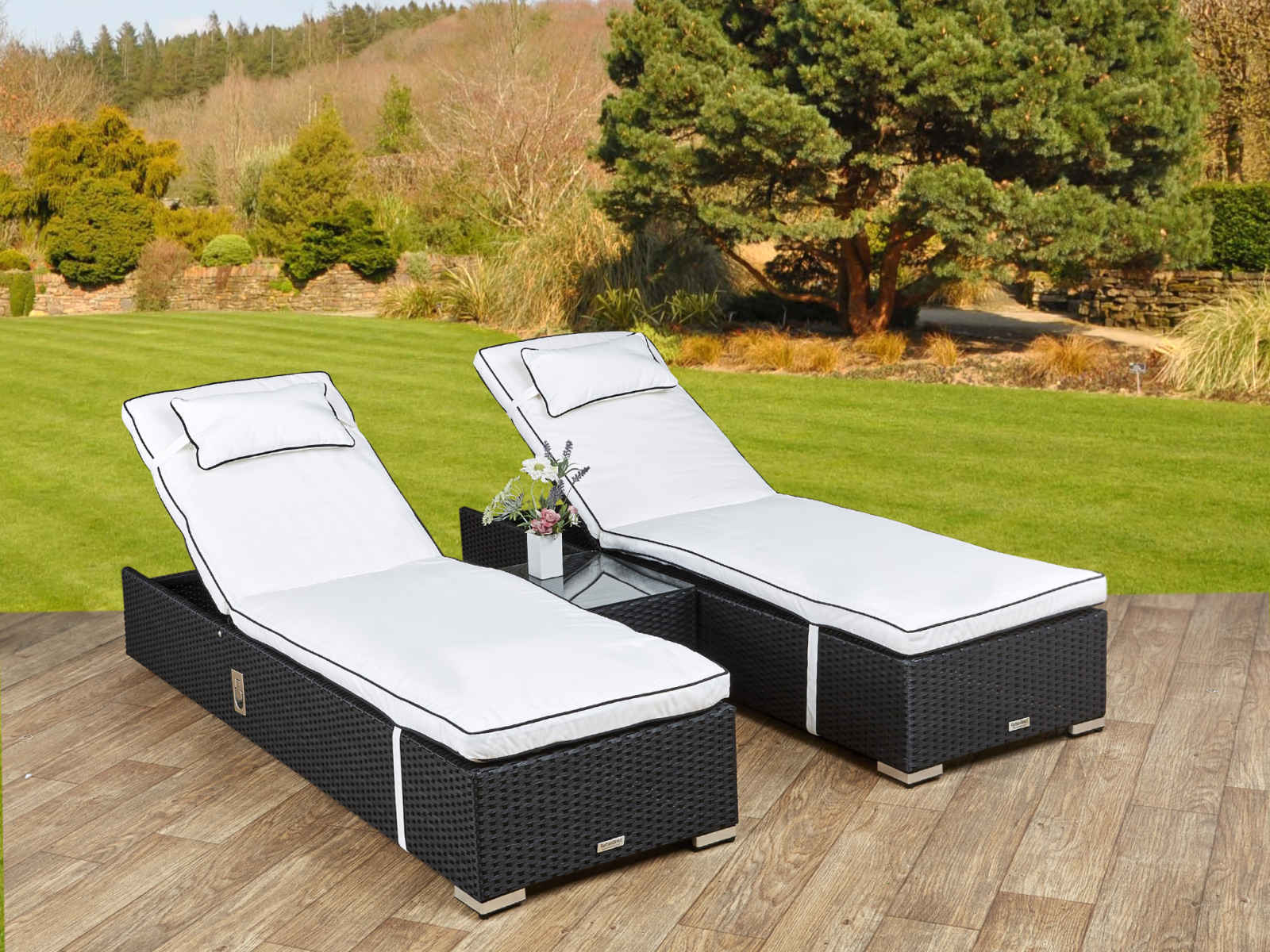 rattan sun loungers and sunbeds with cushions uk rattan