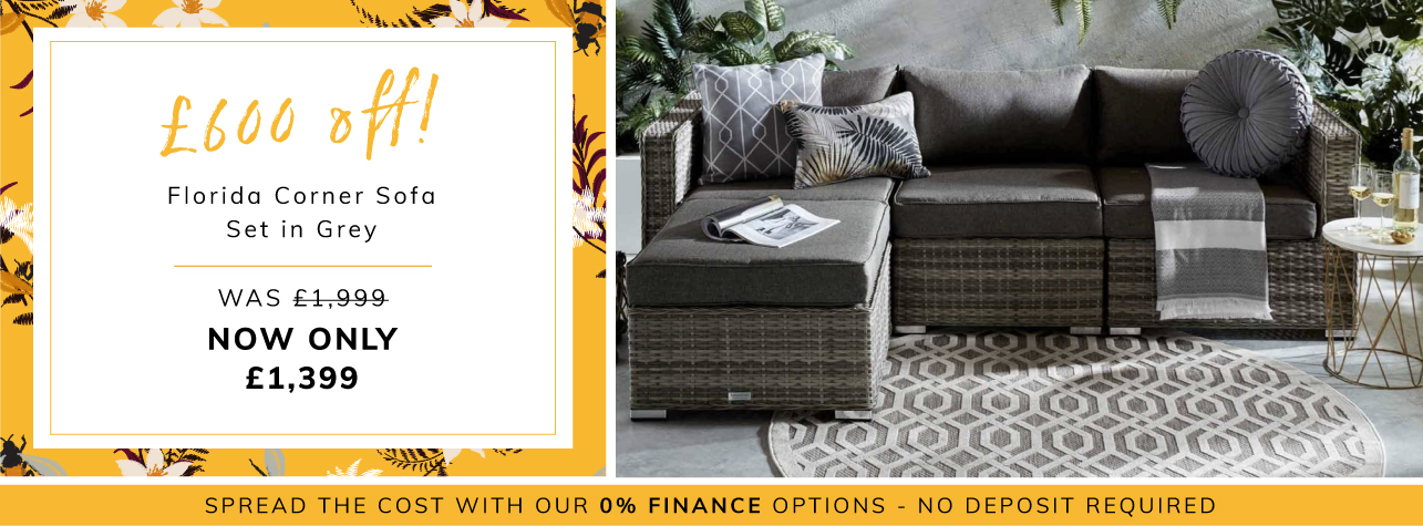 £600 off florida corner sofa set in grey