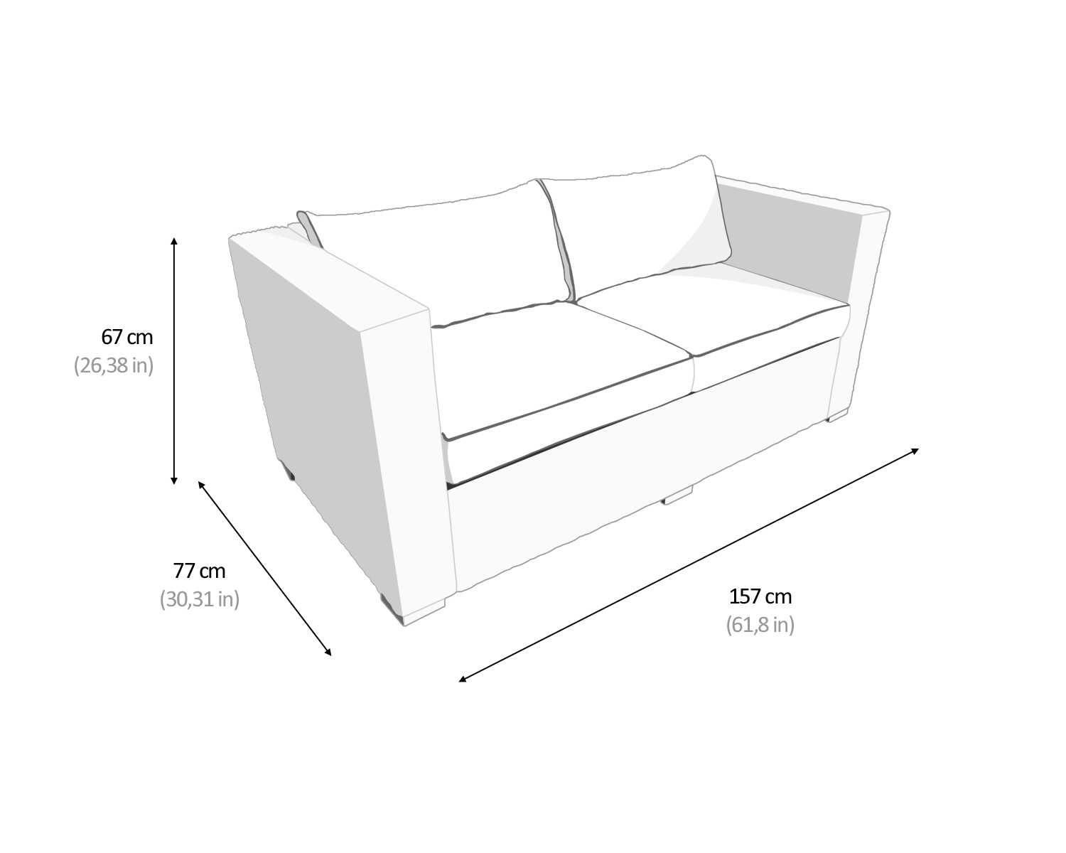 Dimensions of Ascot 2 Seat Sofa