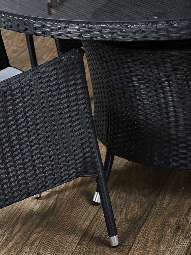 black rattan chair and table