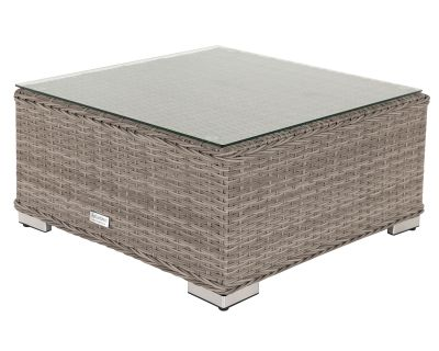 Florida Rattan Garden Ottoman / Coffee Table in Grey
