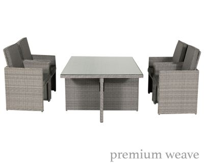Barcelona 5 Piece Rattan Garden Cube Set in Grey