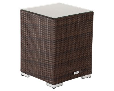 Tall Square Rattan Garden Side Table in Chocolate Mix