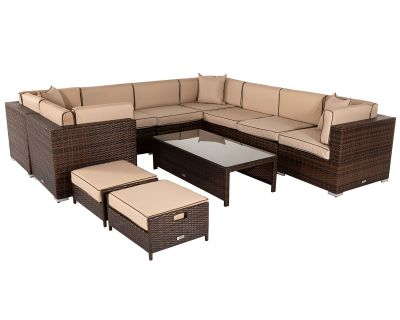 Geneva 2: Rattan Garden Corner Sofa Set in Chocolate and Cream
