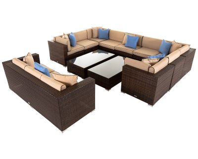 Geneva 7: Rattan Garden Corner Sofa Set in Chocolate and Cream