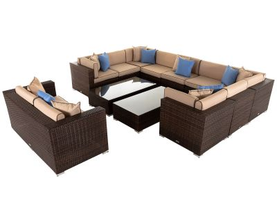 Geneva 8: Rattan Garden Corner Sofa Set in Chocolate and Cream