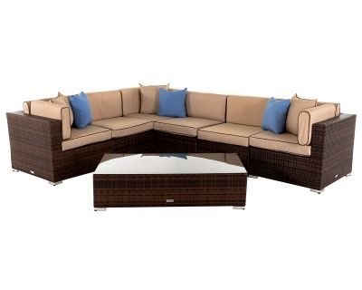 Geneva 3: Rattan Garden Corner Sofa Set in Chocolate and Cream