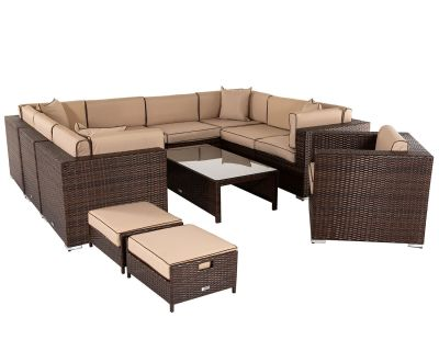 Geneva 10: Rattan Garden Corner Sofa Set in Chocolate and Cream