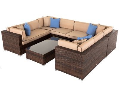 Geneva 11: Rattan Garden Corner Sofa Set in Chocolate and Cream