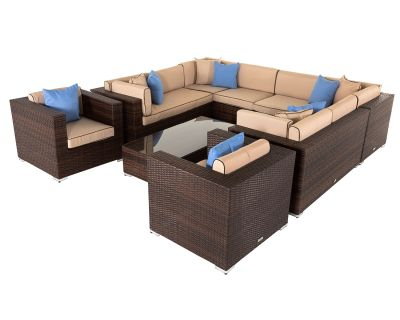 Geneva 12: Rattan Garden Corner Sofa Set in Chocolate and Cream