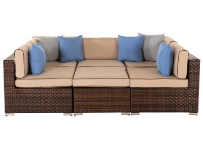 Geneva 13: Rattan Garden Daybed Sofa Set in Chocolate and Cream
