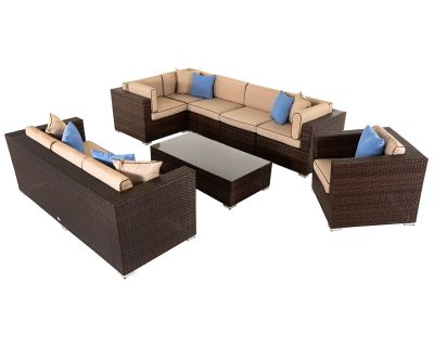 Geneva 9: Rattan Garden Corner Sofa Set in Chocolate and Cream