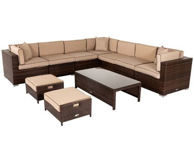 Geneva 6: Rattan Garden Corner Sofa Set in Chocolate and Cream