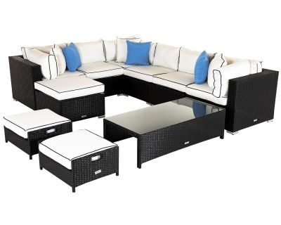 Geneva 1: Rattan Garden Corner Sofa Set in Black and Vanilla