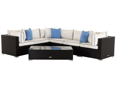Geneva 3: Rattan Garden Corner Sofa Set in Black and Vanilla