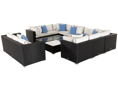 Geneva 7: Rattan Garden Corner Set in Black and Vanilla