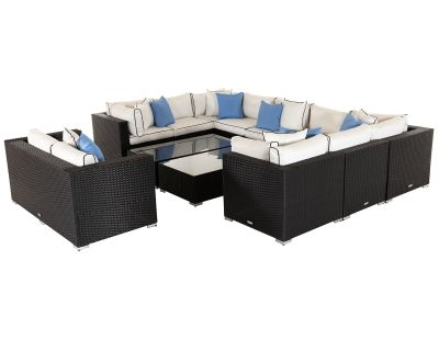 Geneva 8: Rattan Garden Corner Sofa Set in Black and Vanilla
