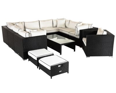 Geneva 10: Rattan Garden Corner Set in Black and Vanilla