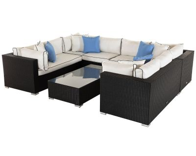 Geneva 11: Rattan Garden Corner Set in Black and Vanilla
