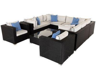 Geneva 12: Rattan Garden Corner Sofa Set in Black and Vanilla