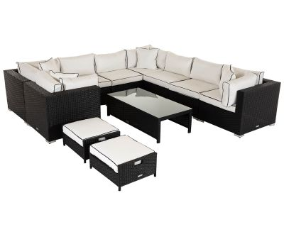 Geneva 2: Rattan Garden Corner Sofa Set in Black and Vanilla