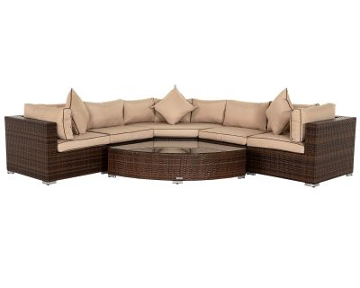 Florida 6 Piece Angled Rattan Garden Corner Sofa Set in Chocolate and Cream