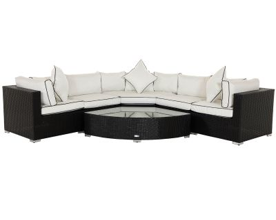 Florida 6 Piece Angled Rattan Garden Corner Set in Black and Vanilla