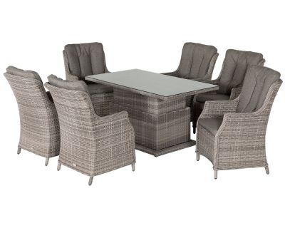 6 Riviera Rattan Garden Dining Chairs and Adjustable Table Set in Grey
