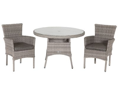 Cambridge 2 Rattan Chairs and Small Round Table Set in Grey