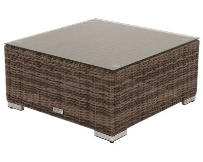 Florida Rattan Garden Ottoman / Coffee Table in Truffle and Champagne