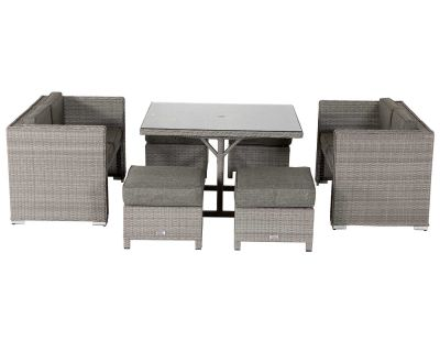Barcelona Rattan Garden Sofa Cube Set in Grey