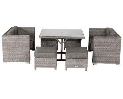 Barcelona Rattan Garden Sofa Cube Set in Grey