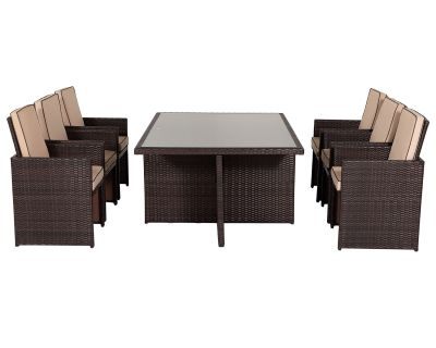 Barcelona 7 Piece Rattan Garden Cube Set in Chocolate Mix and Coffee Cream