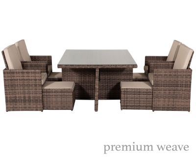 Barcelona 9 Piece Rattan Garden Cube Set in Premium Truffle Brown and Champagne