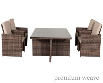 Barcelona 5 Piece Rattan Garden Cube Set in Premium Truffle Brown and Champagne