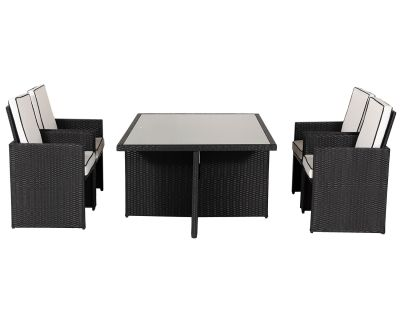 Barcelona 5 Piece Rattan Garden Cube Set in Black and Vanilla