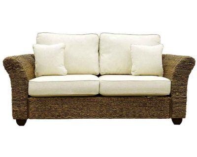 Kingston Abaca Large 2 Seat Rattan Sofa With Oatmeal Cushion Covers