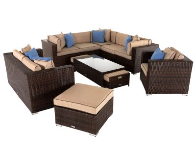 Geneva 4: Rattan Garden Corner Set in Chocolate and Cream