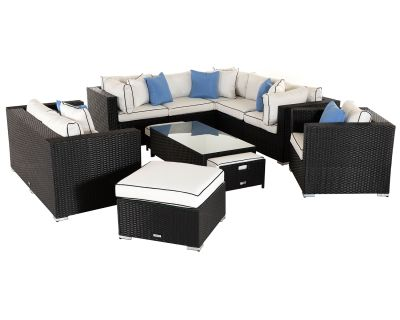 Geneva 4: Rattan Garden Corner Set in Black and Vanilla
