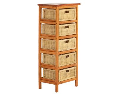 5 Drawer Wicker Rattan Storage Rack in Rustic Brown