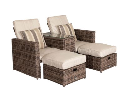 Paris Sun Lounger Set in Premium Truffle Brown and Champagne