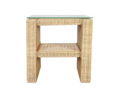 Wicker Side Table With Shelf