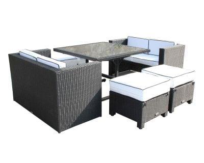 Barcelona Rattan Garden Sofa Cube Set in Black and Vanilla