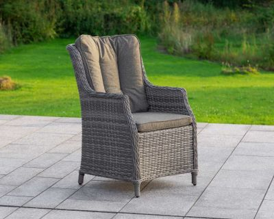 Riviera Rattan Garden Dining Chair in Grey